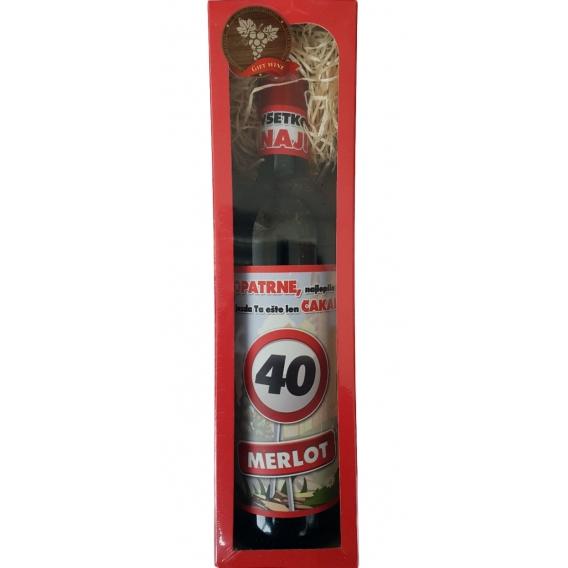 Darčekové červené víno v krabičke 750 ml -  Merlot - Všetko najlepšie 40