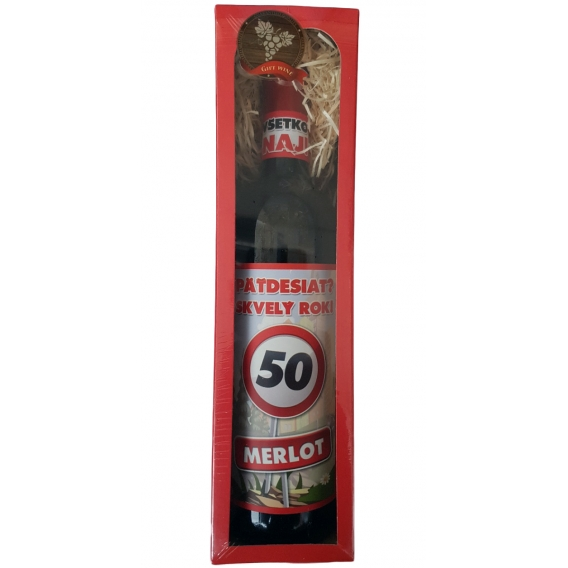 Darčekové červené víno v krabičke 750 ml -  Merlot - Všetko najlepšie 50