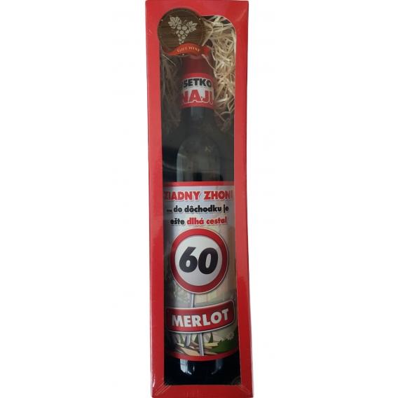 Darčekové červené víno v krabičke 750 ml - Merlot - Všetko najlepšie 60
