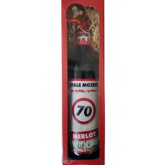 Darčekové červené víno v krabičke 750 ml -  Merlot - Všetko najlepšie 70