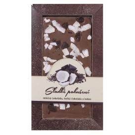 Mliečna čokoláda s kúskami horkej čokolády a kokosu