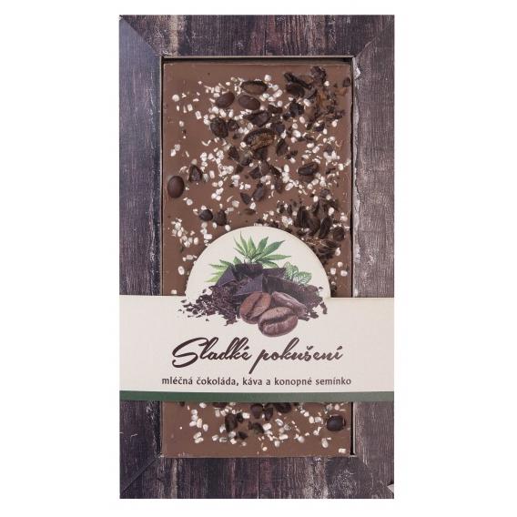 Mliečna čokoláda s kávovými zrnkami a konopným semienkom