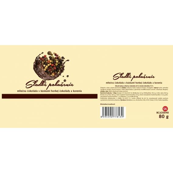 Mliečna čokoláda s kúskami horkej čokolády a korenia
