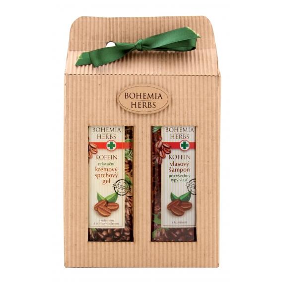 Darčekové balenie s kofeínom - sprchový gél 250 ml, vlasový šampón 250 ml s kofeínom a olivovým olejom
