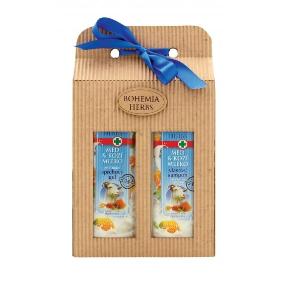 Darčekové balenie s medom a kozím mliekom - sprchový gél 250 ml, vlasový šampón 250 ml
