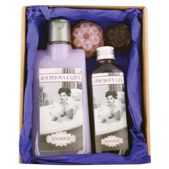 """Darčekové balenie """"Ladies Spa"""" - pena do kúpeľa 200 ml, darčekový sprchový gél 100 ml, 2x ručne vyrábané mydlo"""