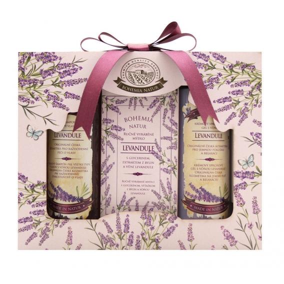 Darčekové balenie LEVANDUĽA- sprchový gél 100 ml, mydlo 100 g, vlasový šampón 100 ml