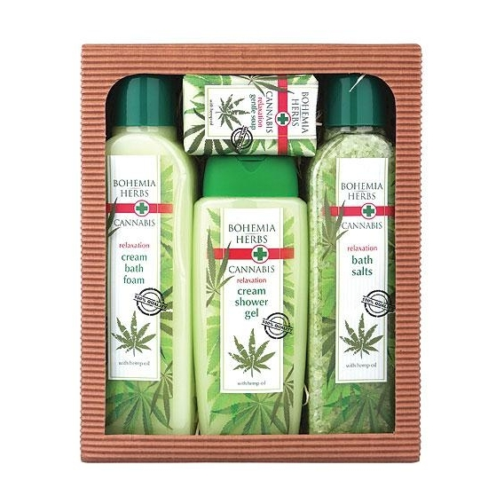 Bohemia Herbs - konopná kosmetika - dárkové balení - sůl + pěna + gel + mýdlo